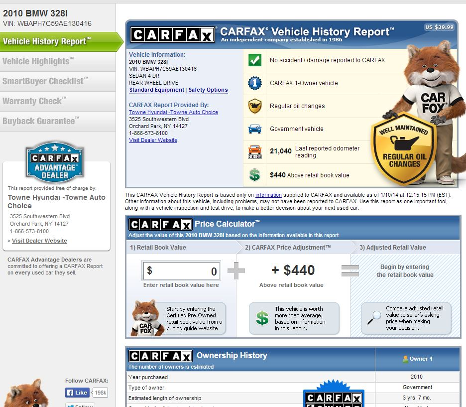 How important is a carfax report to dealerships?